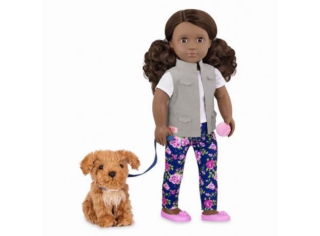 Кукла мулатка 46 см Our Generation Малия с собакой, фото
