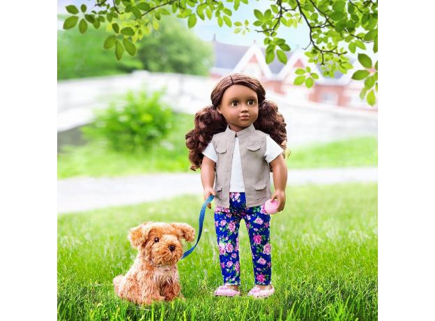 Кукла мулатка 46 см Our Generation Малия с собакой, фото , изображение 5
